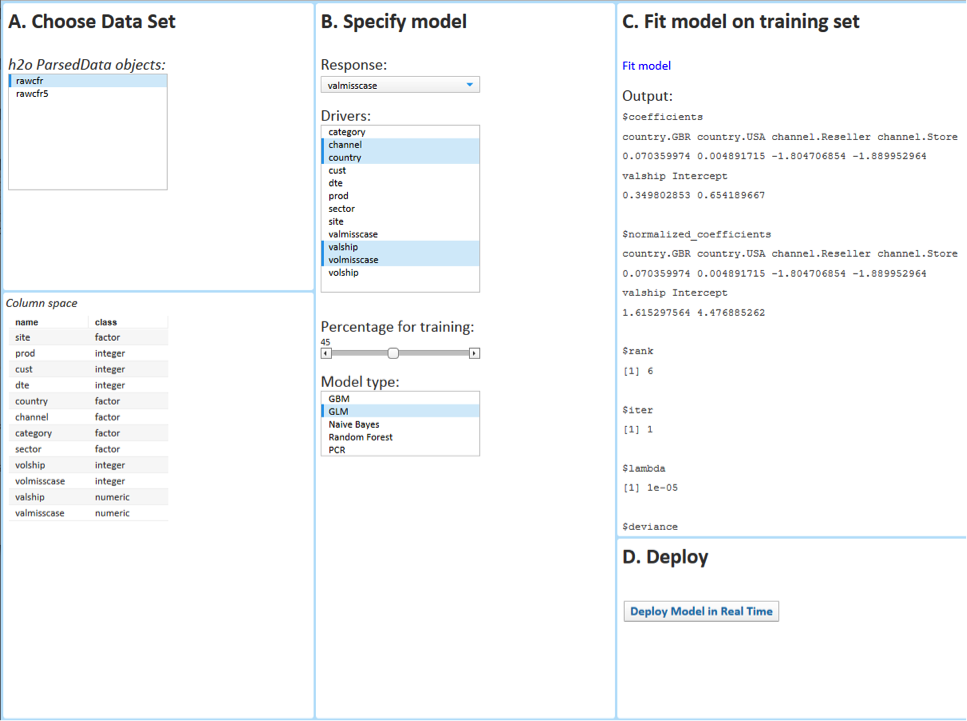 Figure 4. Easy to use interface for a business user to launch calculations on all Hadoop data at once.