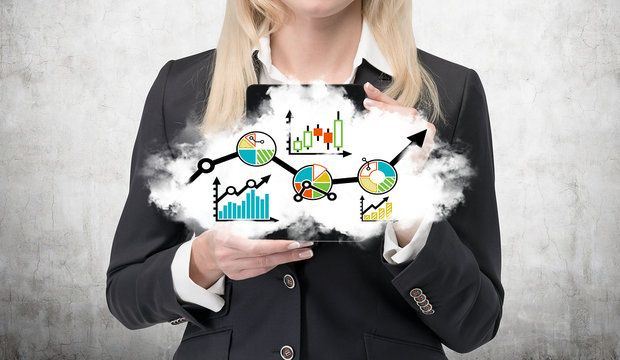 young businesswoman holding cloud with forex chart
