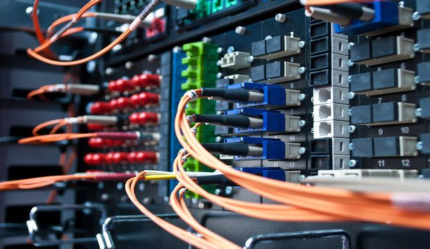 Optic cable connected to a single patch panel. ** Note: Shallow depth of field