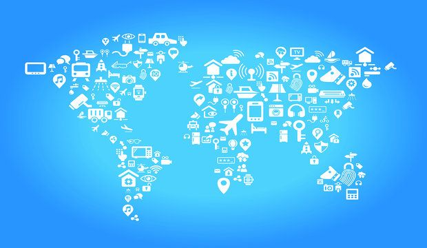 Internet of things concept - world map by Internet of things concept icons