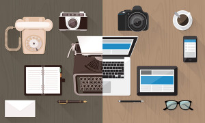 Work desktop and devices evolution from typewriter to keyboard business and communication technology evolution and improvement concept