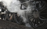 Steam locomotive rolling by close