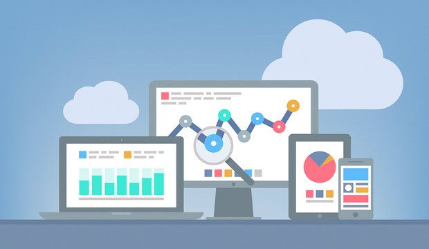 Flat design modern vector illustration concept of website google  analytics and SEO data analysis using modern electronic and mobile devices. Isolated on grey background