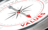 Compass with needle pointing the word values. Conceptual illustration part three of a company statement Mission Vision and Value.