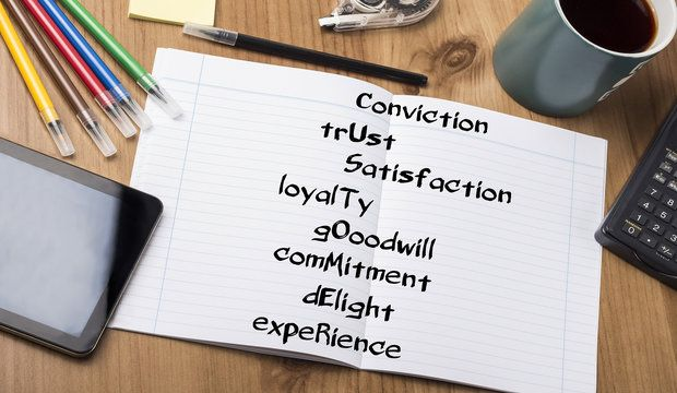 Conviction trUst Satisfaction loyalTy gOoodwill comMitment dElight expeRience CUSTOMER - Note Pad With Text On Wooden Table - with office tools