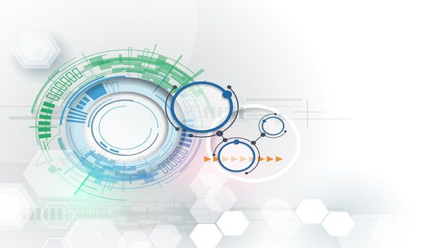 Vector illustration Hi-tech digital technology engineering. Integration and innovation technology concept. Abstract futuristic on light color background for design template business tech presentation
