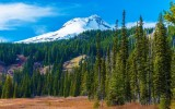 Snowy Peak of Mount Hood in the Cascade Volcanic Arc of Northern Oregon United States. Oregon Landscape.