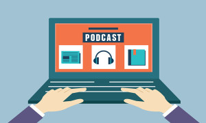Vector flat concept of audio podcast. Subscription as business model - vector illustration