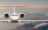 Travel by aircraft. Airplane fly over clouds and Alps mountain on down. Front view of a big passenger or cargo plane, business jet, airline. Transportation concept. Empty space for text.