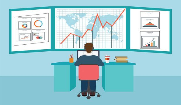Web analytics information and development business statistic conceptual vector illustration.