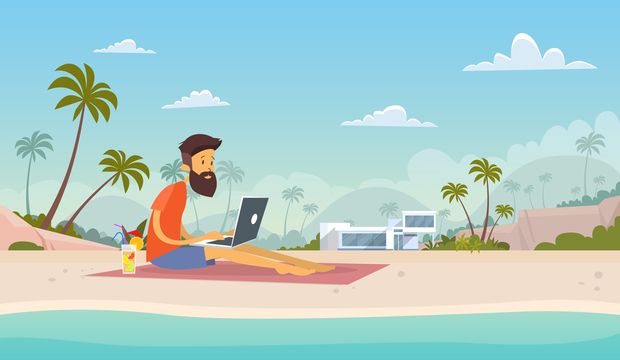 Man Freelance Remote Working Place Using Laptop Beach Summer Vacation Tropical Island Flat Vector Illustration
