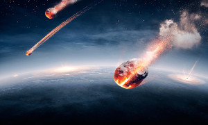 Meteorites on their way to earth and breaking through atmosphere (Elements of this image furnished by NASA- earthmap for 3Drender)