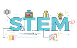 Illustration of STEM - science technology engineering mathematics education word typography design with icons ornament elements