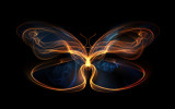 Design element made of fractal butterfly shapes and lights to complement projects related to design imagination and creativity