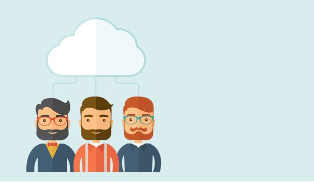 Three sad businessmen under the cloud  as their protection. Business and Economic crisis protection concept. A contemporary style with pastel palette, soft blue tinted background with desaturated