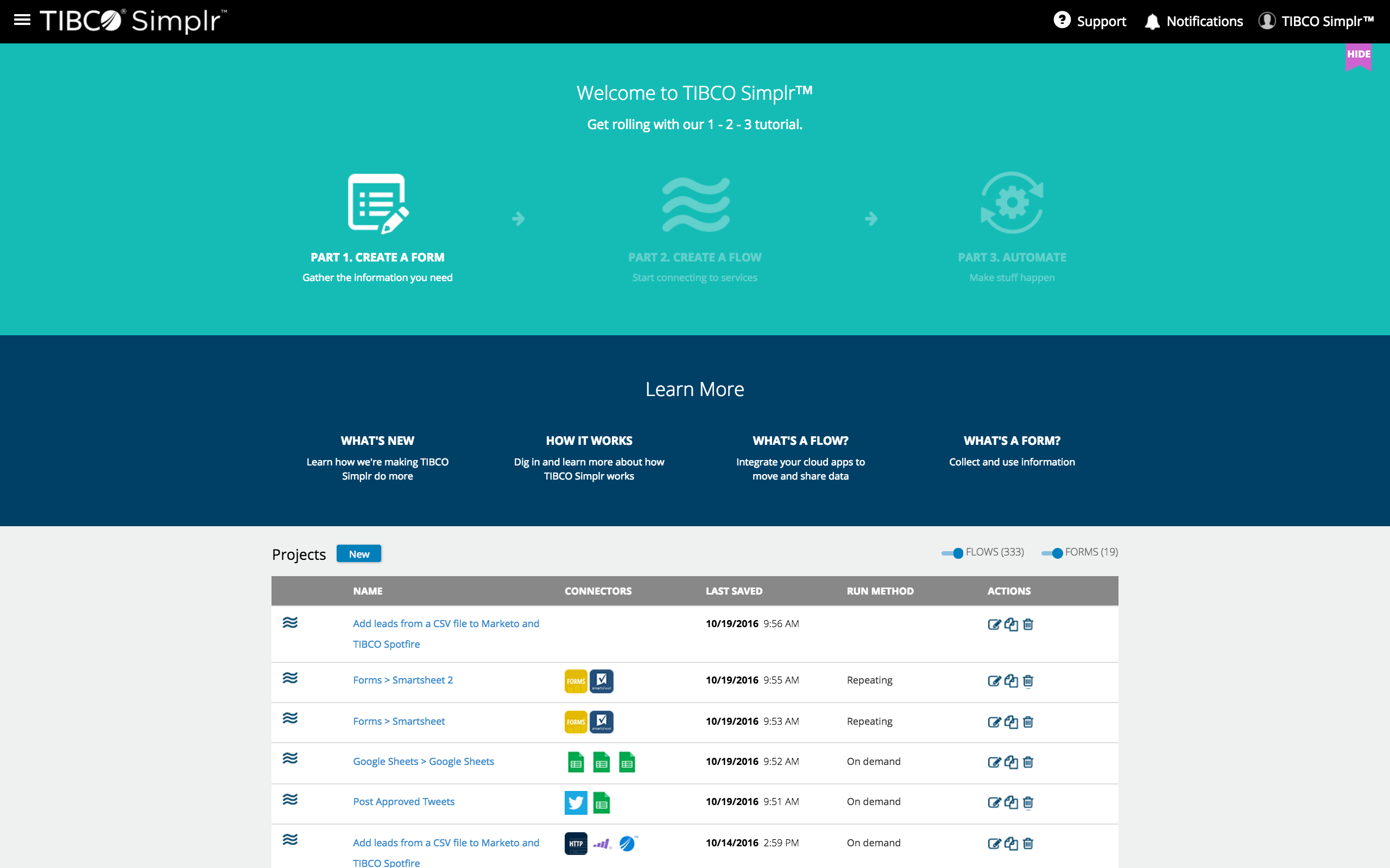 Flows listed Introducing…TIBCO Simplr!