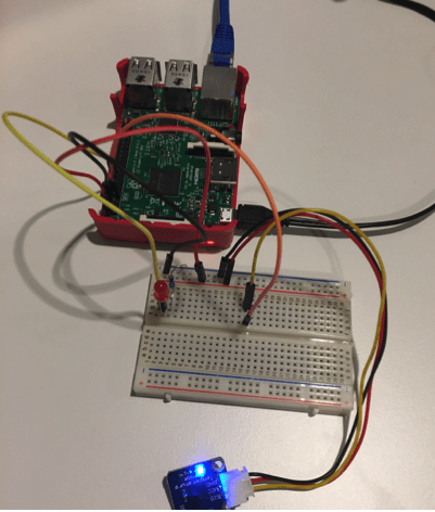 Figure 1: My Raspberry PI connected a LED and temperature sensor