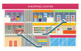 Shopping center buiding design. Shopping mall, shopping center interior, restaurant and boutique, store and shop with cafe, architecture retail, urban structure commercial vector illustration