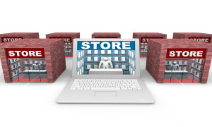 An online store on a laptop computer in competition with physical retailers