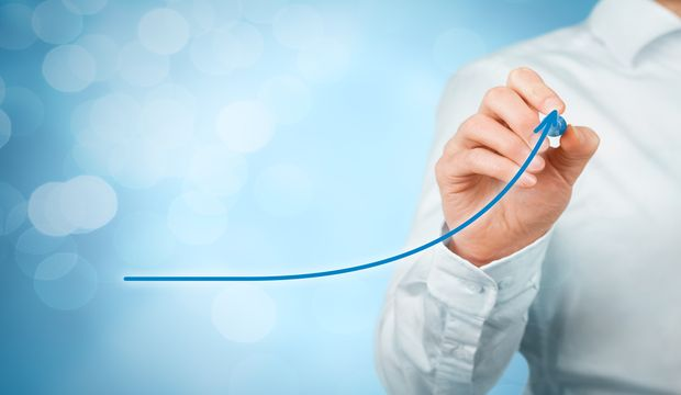 Development growth and improvement concepts. Businessman plan growth and increase of positive indicators in his business like efficiency productivity rating revenue and success.