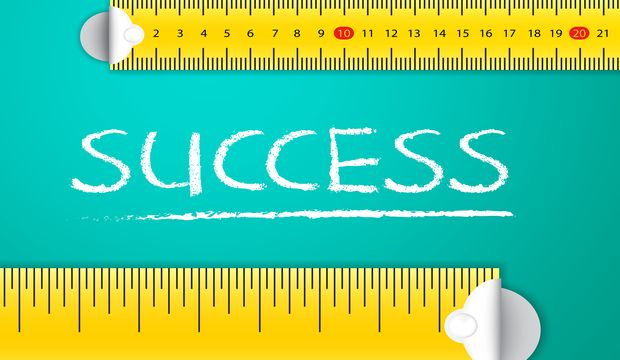 Measuring Business Success and Achievement Concept. Two different tape measuring success word with chalk with metric system and imperial units, flat design. Various way of measuring success in business and sales.