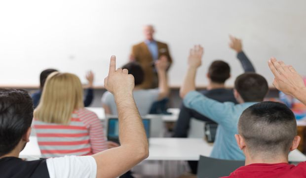 senior teacher teaching lessons, smart students group raise hands up in school  classroom on class