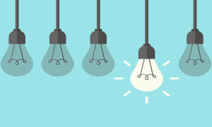 Row of five hanging lightbulbs with one burning on blue background. Inspiration discovery idea and insight concept. Flat design. Vector illustration. EPS 8 no transparency