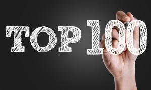 Hand writing the text: Top 100