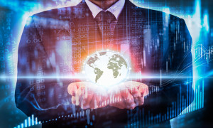 Business man hold digital business world on stock market financial. Digital business on stock market financial LED concept. Double exprosure of business man hold business world on digital stock market financial. Abstract business background