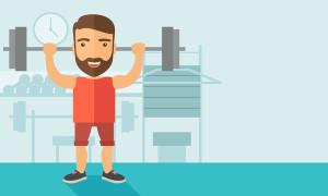 A handsome caucasian man lifting a barbell with fitness attire inside the gym. Contemporary style with pastel palette, soft blue tinted background. Vector flat design illustrations. Horizontal layout.