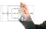 businessman drawing a bpmn, business process modelling notation, diagram