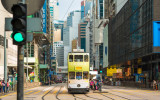 HONG KONG - OCTOBER 25: Public transport on the street on October 25 2015 in Hong Kong. Over 90% daily travelers use public transport. Its the highest rank in the world.