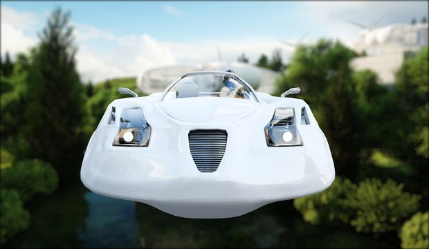 futuristic car flying over the city, town. Transport of the future. Aerial view. 3d rendering