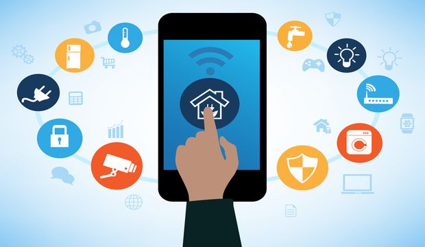 Concept Of Smart House Technology With App Icons. Remote Home Control  Online.Smart Home