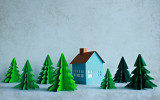 Paper house and trees