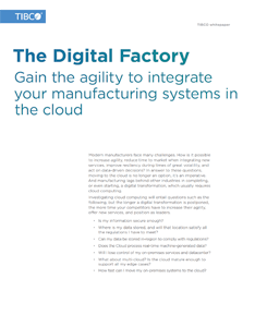 Five Core Principles for the Digital Factory of the Future